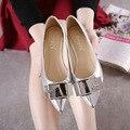 Весной 2016 новые туфли отметил квартиры блестки плоские туфли золотые Одиночные обувь для женской обуви
