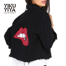 YIKUYIYA Solid Black Turn-down Collar Jacket Red Lips Sequins Single Breasted Pocket Denim Coat Casual Slim Short Basic Jacket