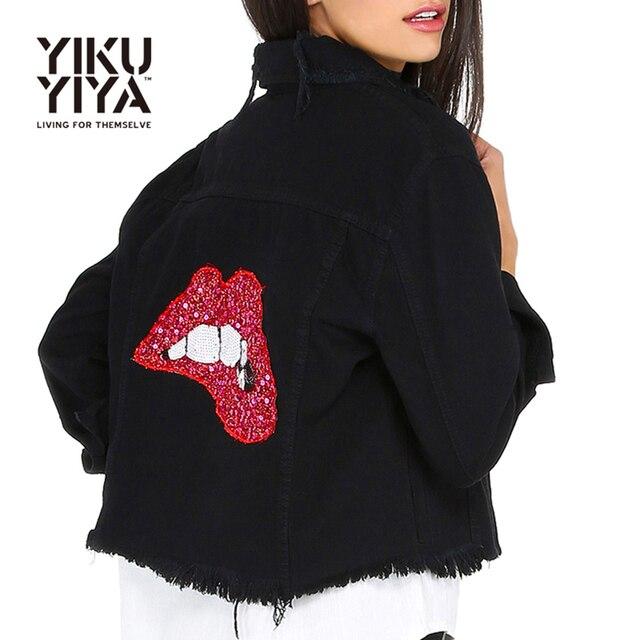 YIKUYIYA Solid Black Turn-down Collar Jacket Red Lips Sequins Single Breasted Pocket Denim Coat Casual Slim Short Basic Jacket