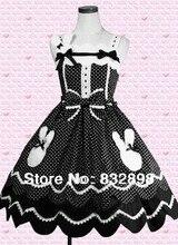 Black and White Sleeveless Bow Dot Cotton Sweet Lolita Dress