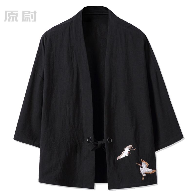 Chinese Style Crane Embroidery Cotton and Pajama Tang Chinese Style Retro Jacket Hanfu Shirt Japanese Personality Kimono Jacket ...
