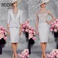 2017 Applique Mãe Dos Vestidos de Noiva Com Mangas Sheer jóia Do Pescoço Na Altura Do Joelho Vestido Formal Para O Casamento Do Noivo Mãe vestidos