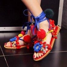 2017 Latest Fashion Gladiator Strappy Sandal Multicolored Fringe Embellished Flat Summer Sandals Wedding Party Dress Shoes Woman