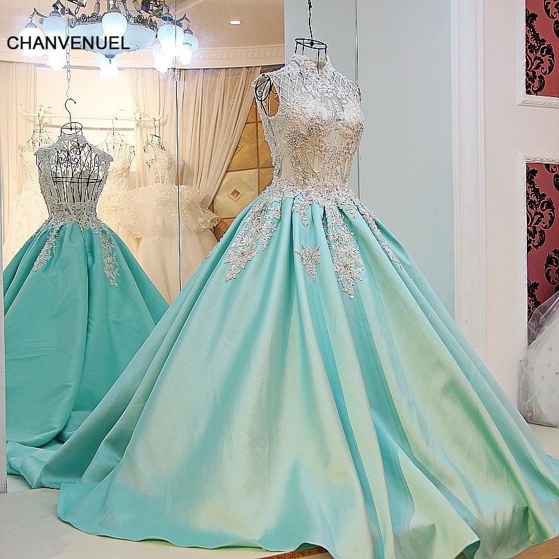 LS67009 elegante lange avondjurken 2017 vestido longo de festa satijn kralen baljurk hoge hals corset terug groene prom dress