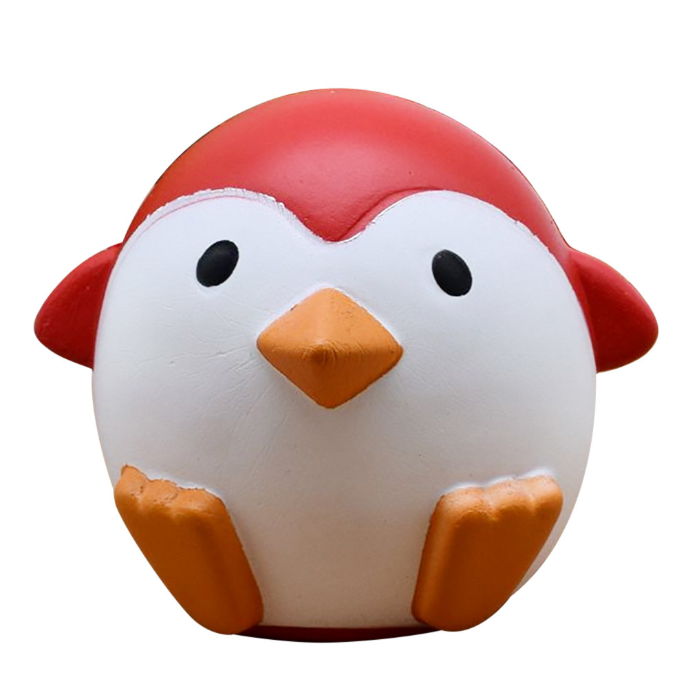 Kawaii Cute Jumbo Squishy Red Penguin Animal Soft Slow Rising Sweet Scented Stress Relief Adult Anxiety Attention Kids Toys Gift