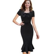 2017 Women Ukraine Black Vintage Office Mermaid Dress Retro Sexy Evening Party Bodycon Spring Prom Bandage Plus Size Vestido 4XL
