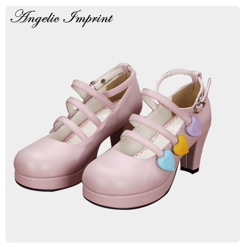 Girls Colored Sweetheart Strappy Round Toe Lolita Shoes Ankle Strap Sweet Pink Chunky Heeled Leather Shoes lovely smilling kitty face faux wooden wedge lolita shoes ankle strap sweet pink girls shoes