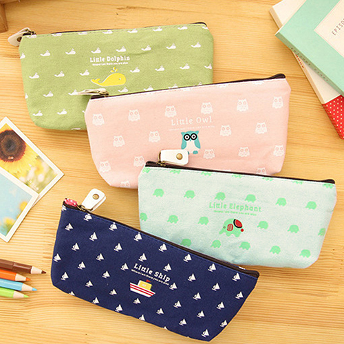 Students Pen Pencil Case Canvas Bag Cosmetic Makeup Pouch Coin Purse Stationery