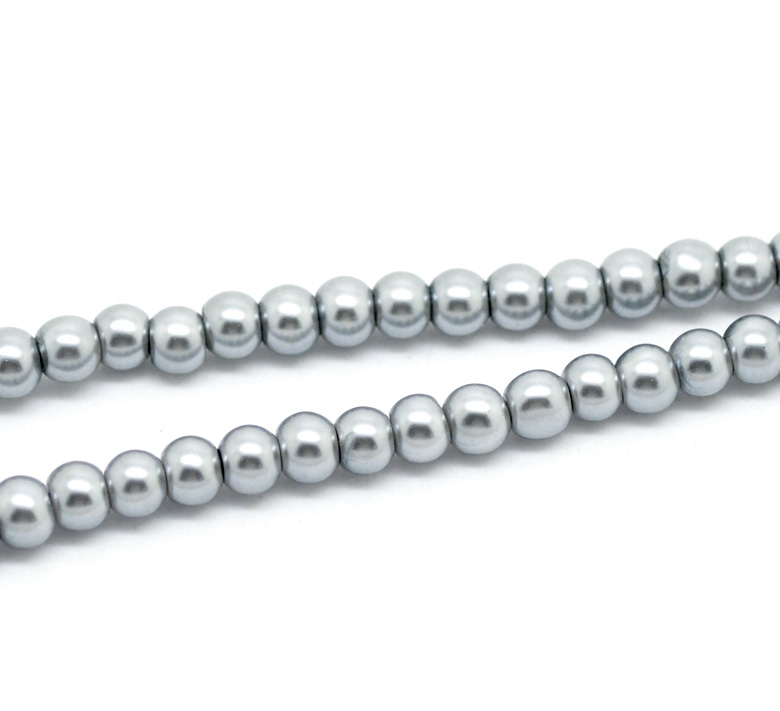 "Doreen Box hot- 5 Strands Gray Glass Imitation Pearl Round Beads 4mm(1/8"") Dia. 82cm(32-1/4"") long (B18754)"