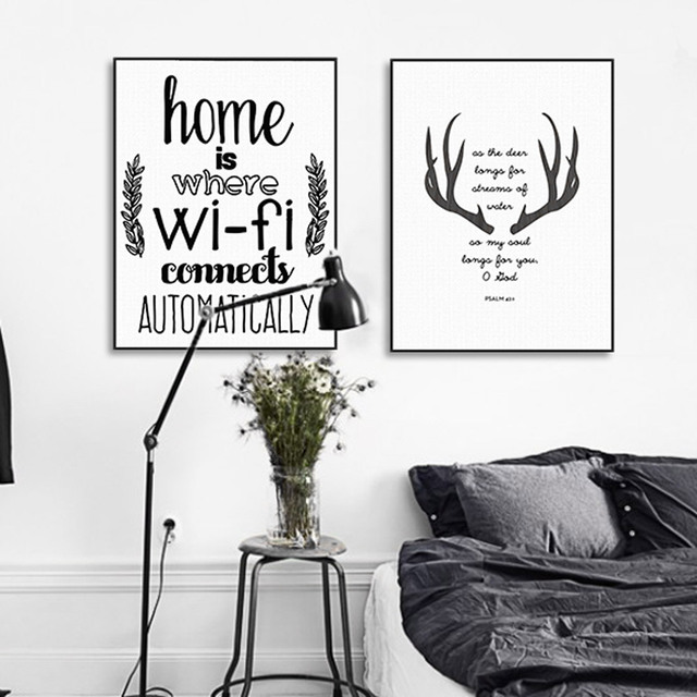 Abstract Deer Typography Home Wifi Quotes Big Canvas Art Poster Print Wall Picture Paintin Nordic Living