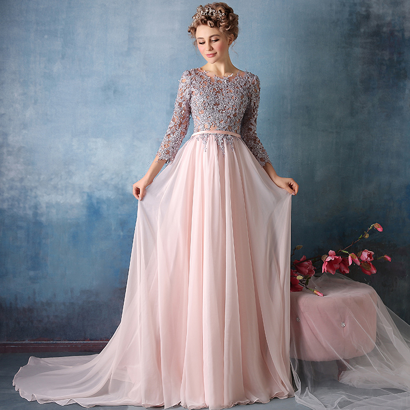 Custom Made Beading Lace Sash Chiffon Nude Evening Dress Vintage With  Sleeves Evening Gowns Long Prom Dresses 2019 vestido longo efacaa2e7a7d