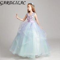 Gardlilac Organza Pink Flower Ball Gown floer Girl Dress Mint Floor Length Cheap First Communion Dress For Girls Kid Flower Gown
