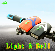 bicycle light+ bell Cycling Bike Bicycle flashlight front lights led Handlebar Ring Horns horn Electronic Alarm Bell Sound F1015