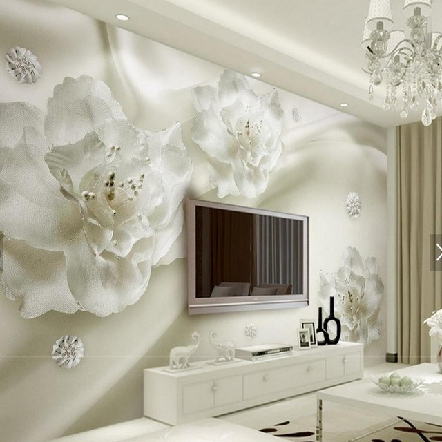 3d embossed white flower mural photo wallpaper for living for Papier peint pour chambre a coucher