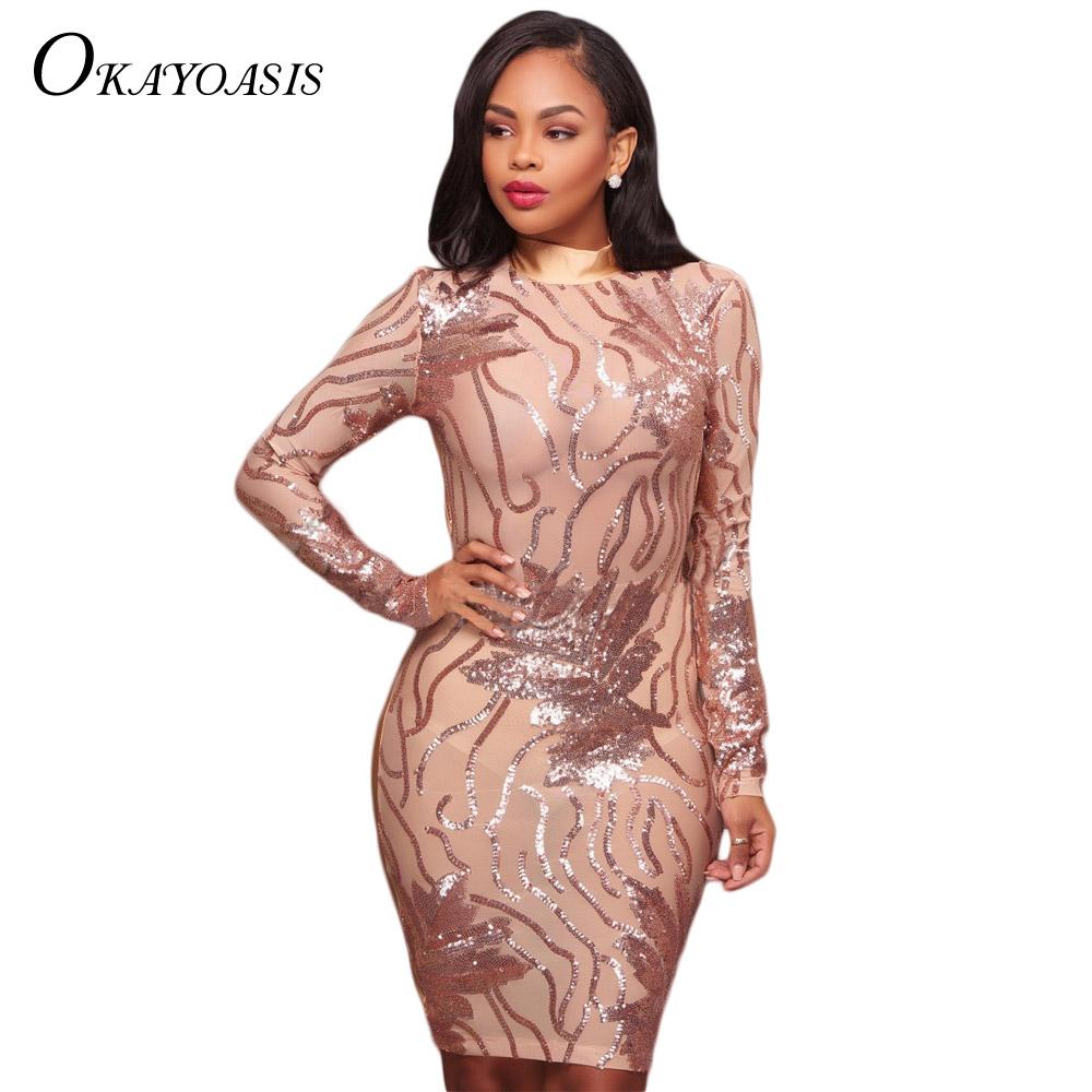 2017 Autumn Sexy Sequins Dress Women Elegant Lady Rose Gold Silm Club Dresses  Fashion Vestido De Festa XXL Hot Sale Robe Femme e5d2fb2e7965