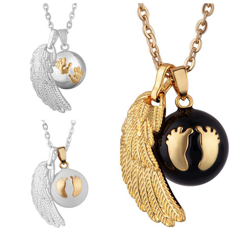 3pcs/Lot Angel Caller Pendants Chime Ball Jewelry Harmony Bola Love Foot and Hands Print Baby Wings Pendant Chain Necklace
