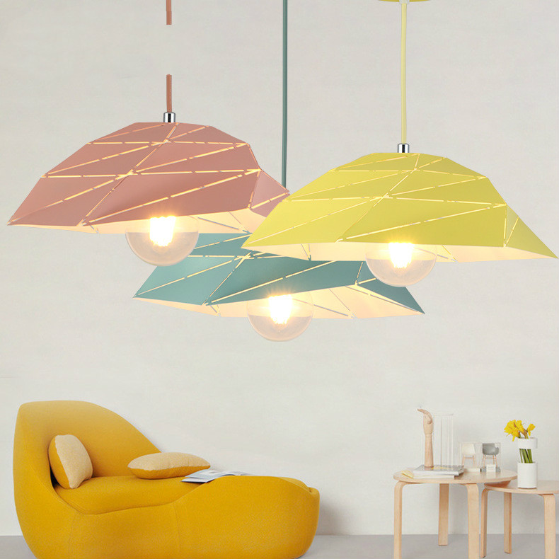 Candlelight Nordic simple Makaron color twisted ceiling lamp living room dining room iron pendant lampCandlelight Nordic simple Makaron color twisted ceiling lamp living room dining room iron pendant lamp