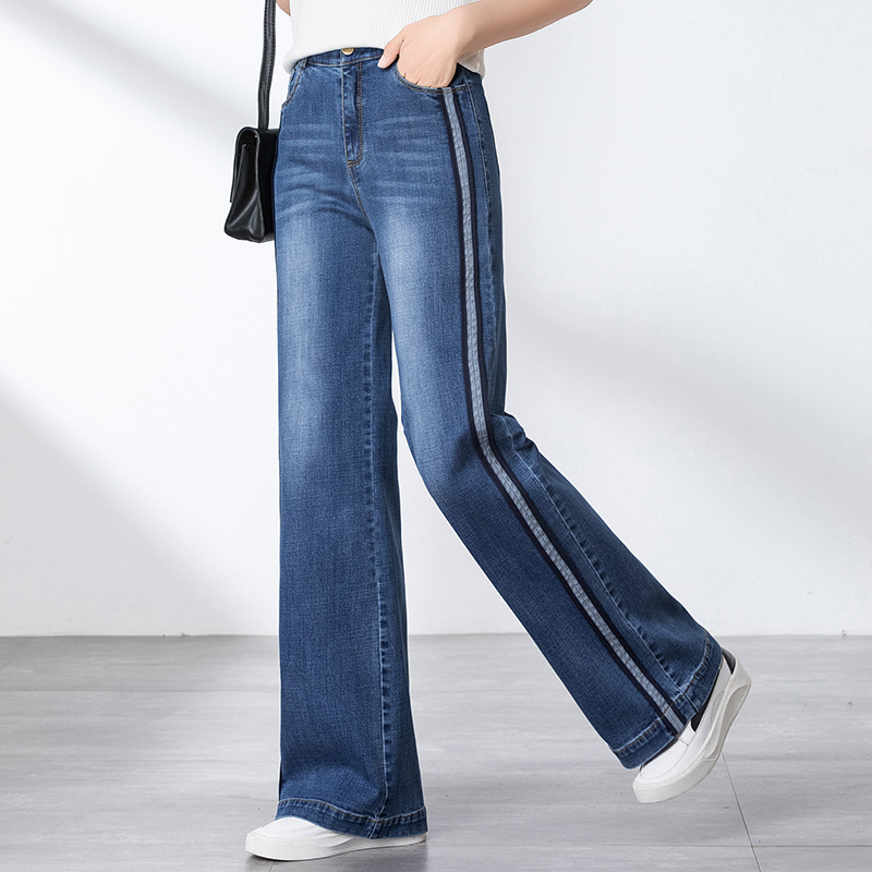 NORMOV 2019 Women Autumn Winter Wide Leg Jeans Straight  Loose Stretch Thin Korean Version Large Size High Waist Spliced Jeans