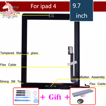 цена на original Touch Screen Digitizer for iPad 4 A1458 A1459 A1460 Glass Panel includes Home Button + Sticker +Camera Holder & Tools