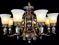 Europe type droplight. Living room lamp, wrought iron resin restoring ancient ways. Chandeliers.