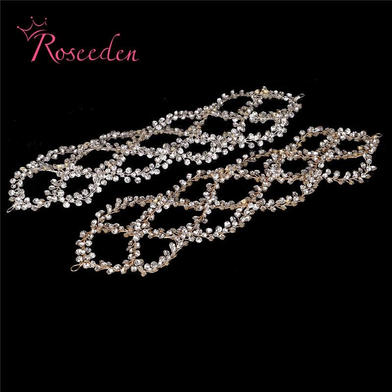 Image 2 - Antique Silver Gold Wedding Bridal Hair Vine Headband Full Rhinestones Floral Wedding Headpiece Hair Accessories Handmaid RE3284Hair Jewelry   -