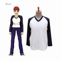 Ainclu Free Shipping New Fate Stay Night Emiya Shirou shirt and Jacket Cosplay Suit Costumes