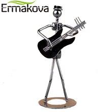 ERMAKOVA 5.1″ Metal Musician Guitar Player Statue Musical Instrument Guitar Figurine Home Cafe Counter Office Book Shelf Decor