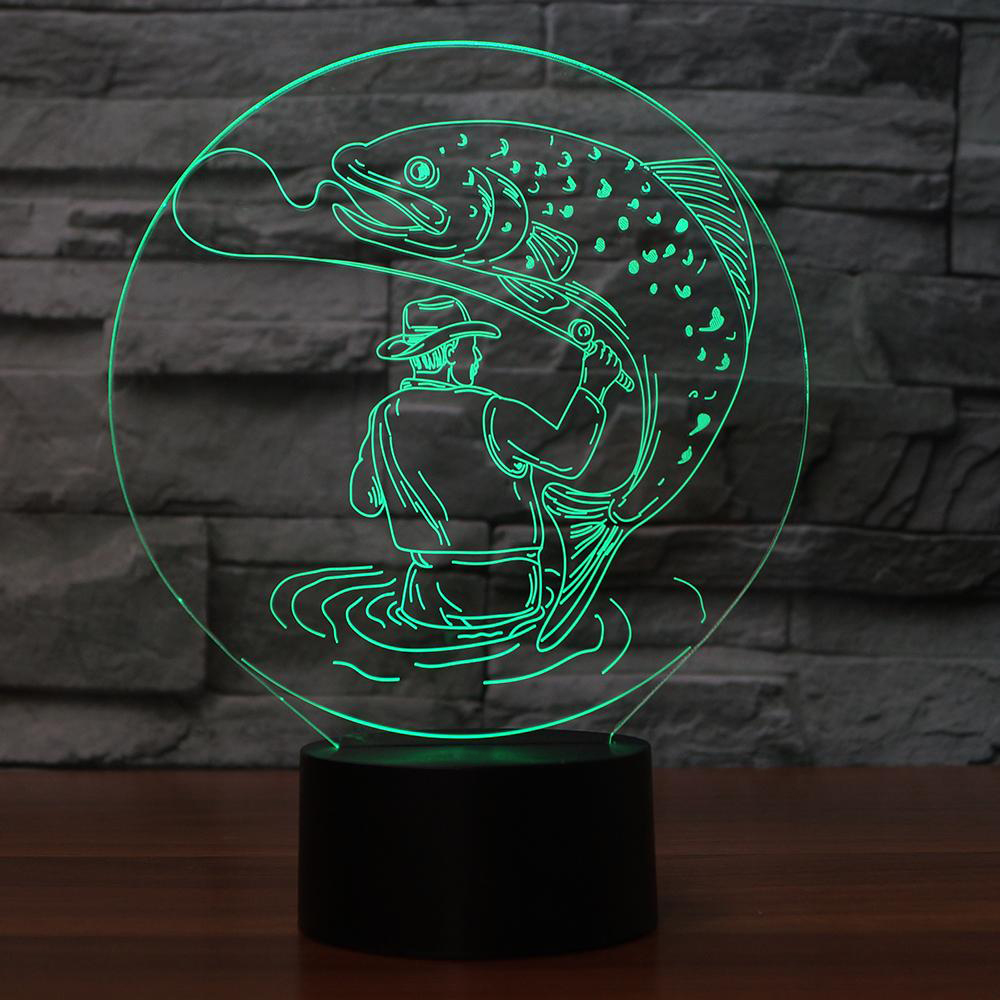 3D Man Catch Big Fish Table Lamp 7 Colors Change LED Visual Atmosphere Decor Fishing Night Light Touch Switch Light Fixture Gift cool skull middle finger 3d skull decor 3d usb led lamp pop rock music boy room decor 7 colors change night light visual illusio