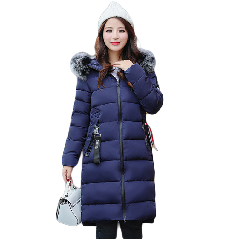 High Quality Large Fur Collar Hooded Women Winter Jacket Snow Wear Female Long Slim Winter Cotton-padded Wadded Coats CM9181 high quality thickening warm parka hooded women winter jacket snow wear female long slim winter cotton padded wadded coat cm1490