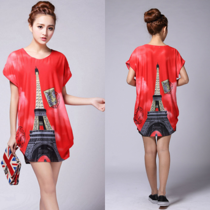 Summer 2015 New Loose Plus Size 16 Fashion Color Printing Vestidos
