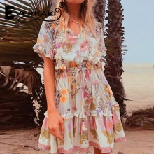 Everkaki Vintage women floral print short sleeve tassel ruffles beach  Bohemian mini dress Ladies loose v-neck rayon Boho