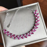 Luxurious fashion Leaf chain natural red ruby Bracelet Natural gemstone bracelet S925 silver woman girl wedding gift jewelry