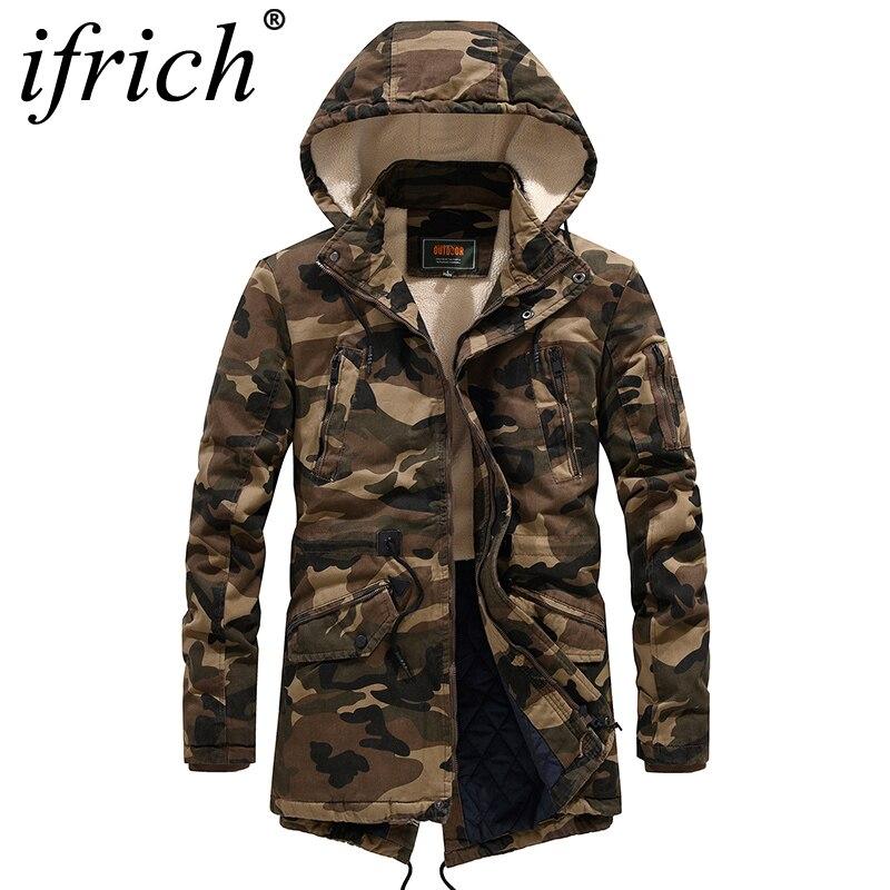 Winter Jacket Men Hooded Camouflage Military Slim Korean Parka Hombre Long Jacket Coat Cashmere Mens Windbreaker Parkas Cotton