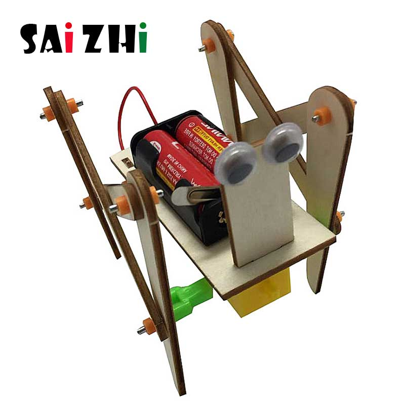 Saizhi Electronic Crawling Robot Dog Toys For Kids DIY Assembled Model Technology Science Experiment Educational Toy For Child