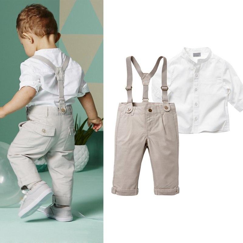 Комплект одежды для маленьких мальчиков летний комплект для малышей футболка + Повседневное Длинный Чулок штаны Панталоны Наборы для ухода за кожей Формальные Костюм на свадьбу и праздник