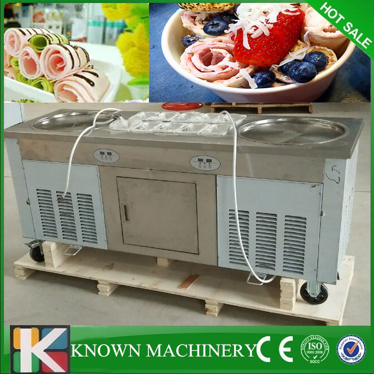 With R410A Refrigerant 110v/220v/60Hz Commercial Thailand Flat Double Pans With 10 Cooling Tanks Fry Fried Ice Cream Machine