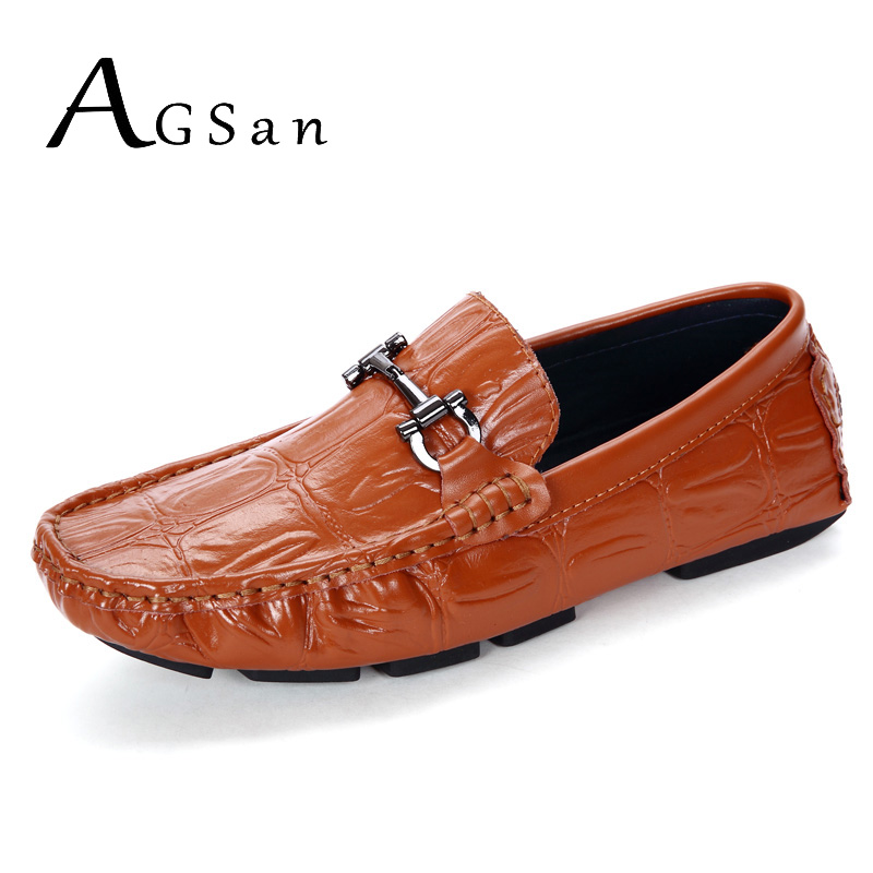 AGSan handmade mocasines homme brown driving loafers men breathable leather shoes crocodile slip on hombre zapatos party loafers branded men s penny loafes casual men s full grain leather emboss crocodile boat shoes slip on breathable moccasin driving shoes