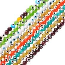 Turkish Hamsa Multicolors Mixed Round Shape Evil Eye Beads Lampwork Glazed Glass Beads for Bracelet Necklace DIY Jewelry Making