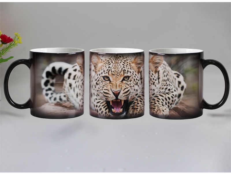 Darmowa wysyłka leopard zwierząt wrażliwy na ciepło kawy kufel kubek ceramiczne magia zmiana koloru kubki na herbatę najlepszy prezent