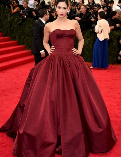 4a17233869 2014 Sarah Silverman Met Gala Strapless Ruched Taffeta Maroon Ball Gown  Long Evening Dress2