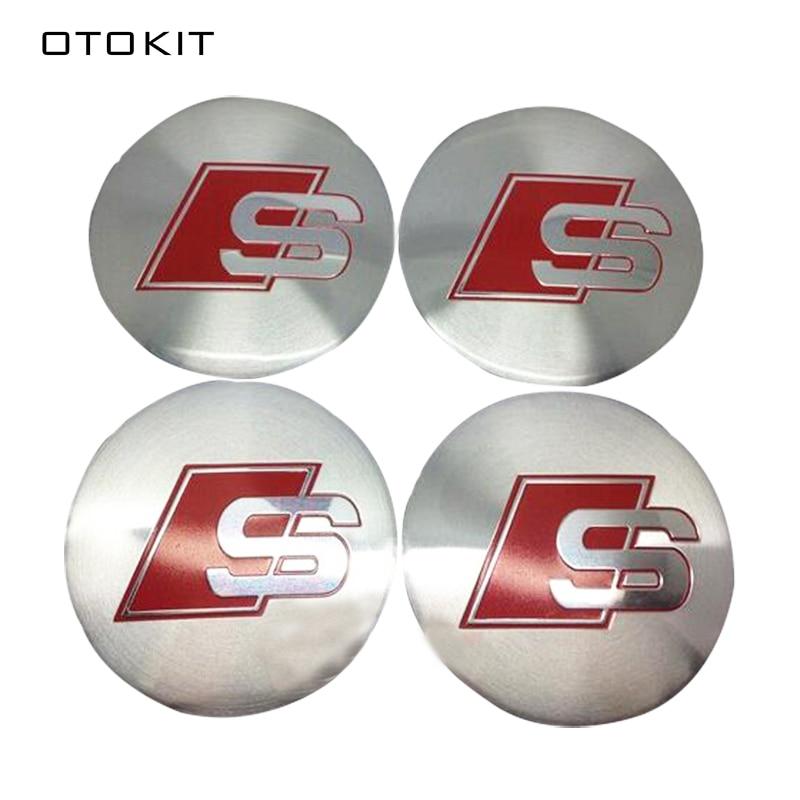 4Pcs/lot 56.5mm Car Styling S Car Rim Center Wheel Hub Cap Cover Sticker for Sline AUDI A1 A3 Q3 A4 A4L A5 A6L Q1 Q5 Q7 TT Sline