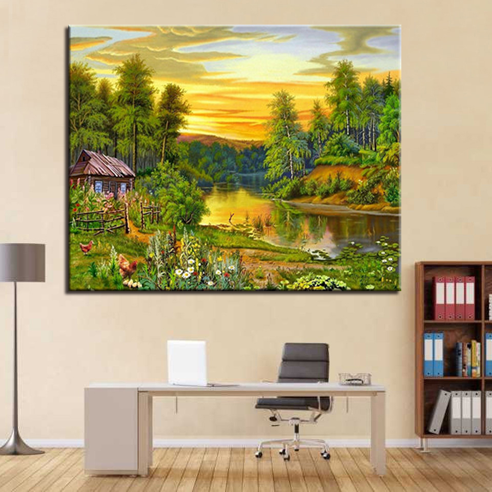 Framework DIY Oil Painting By Numbers Drawing Forest Sunset Scenery ...
