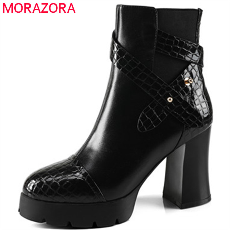 MORAZORA Platform boots in spring autumn high heels shoes woman ankle boots for women genuine leather boots big size 34-40 hot sale big size 32 44 fashion spring autumn women shoes sexy solid pu leather platform ankle strap high heels augz 958