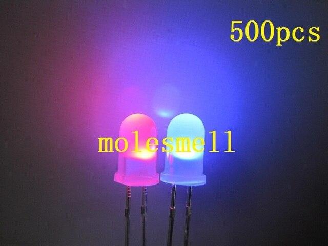 Darmowa wysyłka 500 sztuk 5mm podwójny Bi kolor zmiana polarna rozproszone czerwony/niebieski Led rozproszone diody led 2 Pin led big/szerokokątne Led
