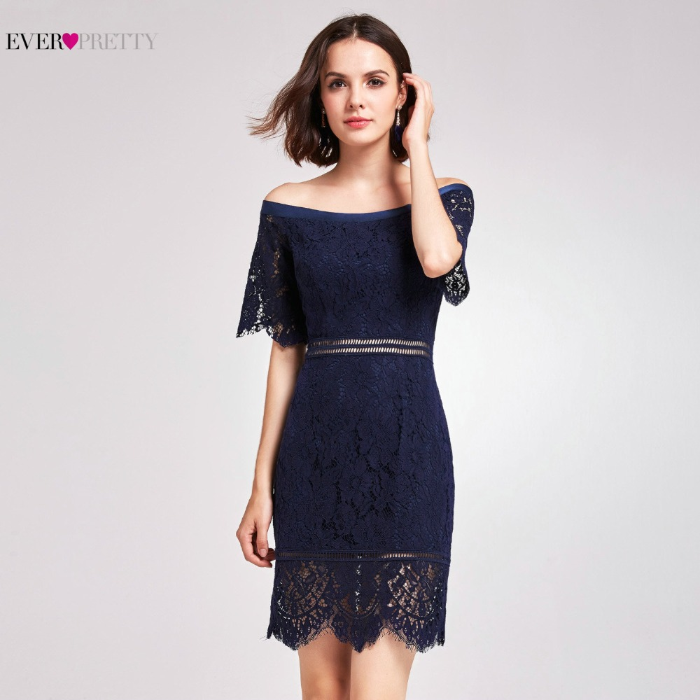 Navy Blue Lace   Cocktail     Dress   Elegant 2018 Hot Sale Short Party   Dresses   with Cap Sleeve robe   cocktail   Ever-Pretty AS05921NB