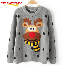 TryEverything Ugly Christmas Deer Sweater Women Winter 2017Cotton O Neck Gray Jumper Knitted Pullover Sweater Female Long Sleeve