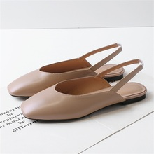 2019 summer womens sandals high quality leather fabric comfortable inner square toe flat female