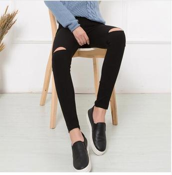 2018 Cotton High Elastic Imitate Jeans Woman Knee Skinny Pencil Pants Slim Ripped Jeans For Women Black Ripped Jeans XXXL 1