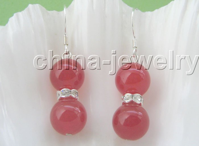 Gorgeous 10 mm natural round red onyx earrings free shipment