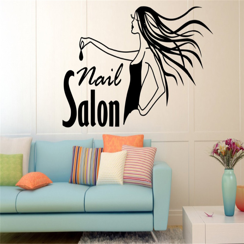 Nail Girl Beauty Salon Wall Stickers Polish Manicure Pedicure Spa Vinyl Decals Removable Interior Waterproof Home Decor